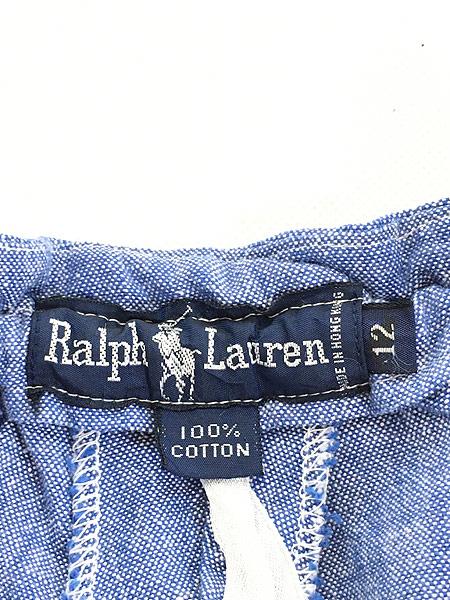 [7] レディース 古着 90s Ralph Lauren ラルフ ブルー シャンブレー ショーツ ショート パンツ XL位 古着