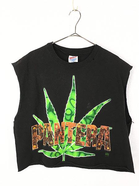 [1] レディース 古着 90s PANTERA 「FAR BEYOND DRIVEN」 ヘヴィメタル ロック バンド カットオフ Tシャツ XL 古着