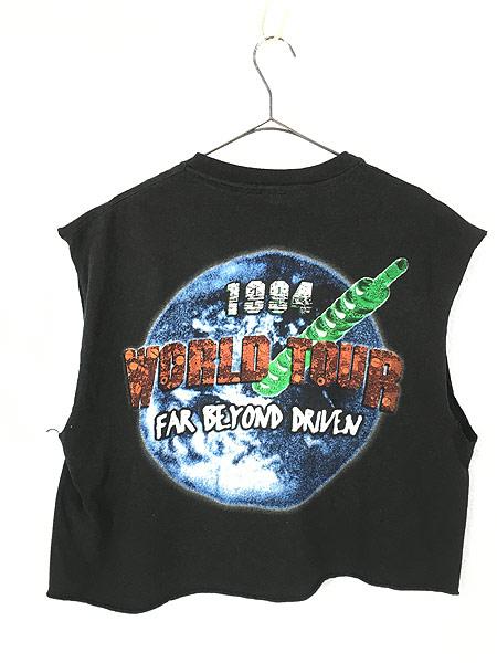 [3] レディース 古着 90s PANTERA 「FAR BEYOND DRIVEN」 ヘヴィメタル ロック バンド カットオフ Tシャツ XL 古着