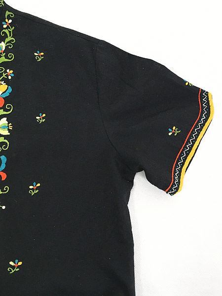 [4] レディース 古着 70s Lily 花 刺しゅう フォークロア スタンドカラー ラウンド シャツ S位 古着