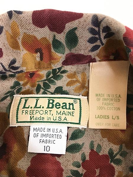 [5] レディース 古着 80s USA製 LL Bean ビーン フラワー 総柄 コットン シャツ L 古着