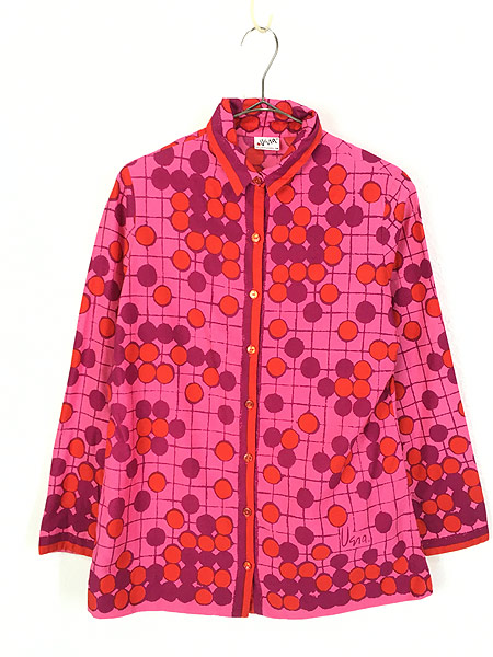 [1] レディース 古着 Vera Neumann ヴェラ 水玉 ドット アート デザイン コットン シャツ L位 古着