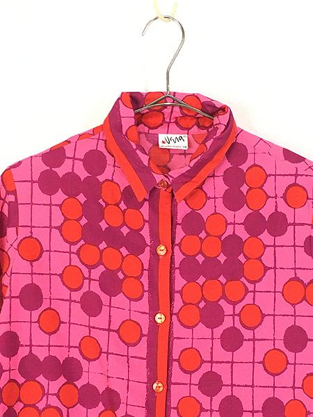 [2] レディース 古着 Vera Neumann ヴェラ 水玉 ドット アート デザイン コットン シャツ L位 古着