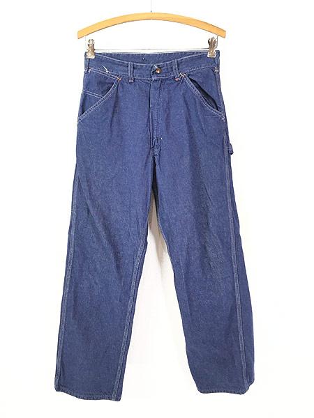 [1] レディース 古着 70s Sears 濃紺 デニム バットダイ ワーク ペインター パンツ W29 L29 古着