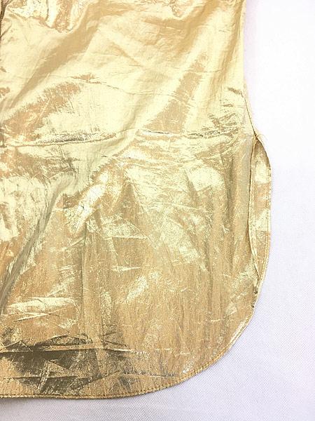 [6] レディース 古着 90s USA製 Vicky vaughn メタリック ゴールド × 水玉 ドット ベロア シャツ XL位 古着