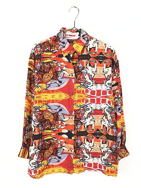 [1] レディース 古着 90s Picasso ピカソ 「Bull Fight」 総柄 キュビズム アート シルク シャツ L位 古着
