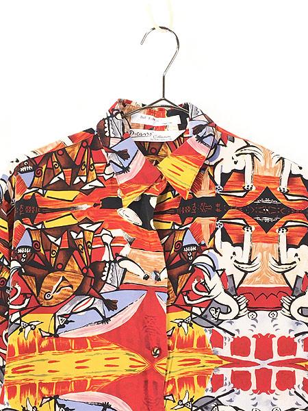 [2] レディース 古着 90s Picasso ピカソ 「Bull Fight」 総柄 キュビズム アート シルク シャツ L位 古着