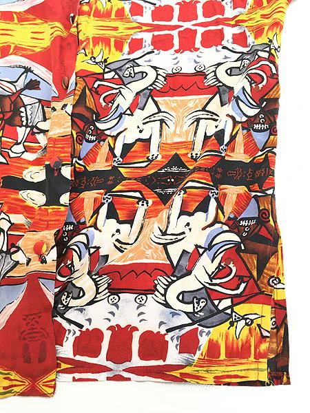 [5] レディース 古着 90s Picasso ピカソ 「Bull Fight」 総柄 キュビズム アート シルク シャツ L位 古着