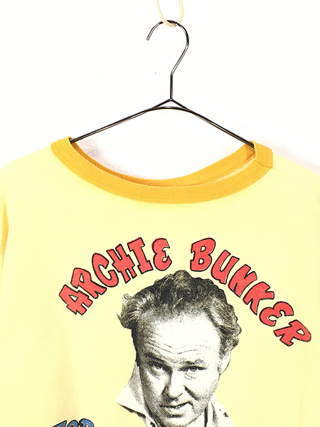 [2] レディース 古着 70s ARCHIE BUNKER アーチ バンカー 染み込み 半袖 2トーン スウェット L位 古着