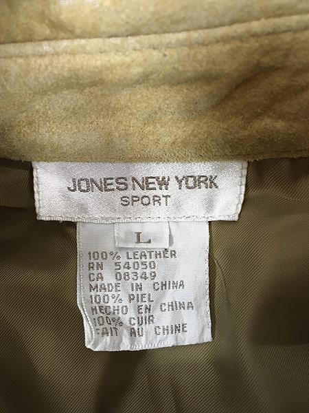 [6] レディース 古着 JONES NEW YORK 本革 スエード レザー ラウンド シャツ L 古着
