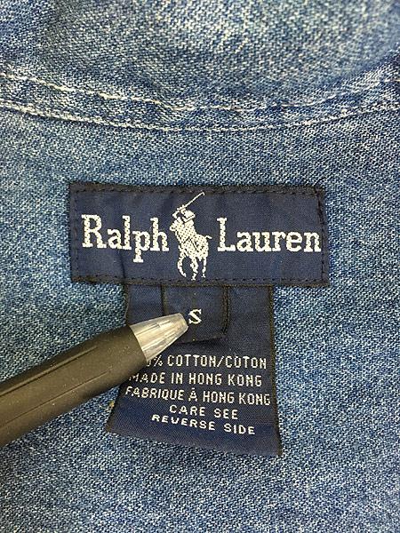 [7] レディース 古着 90s Ralph Lauren ラルフ ワンポイント デニム ワーク シャツ L位 古着