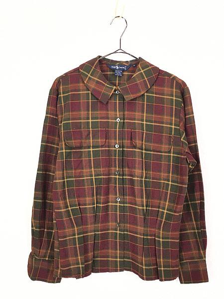 [1] レディース 古着 90s Ralph Lauren 丸襟 クラシック ウール コットン チェック シャツ S位 古着