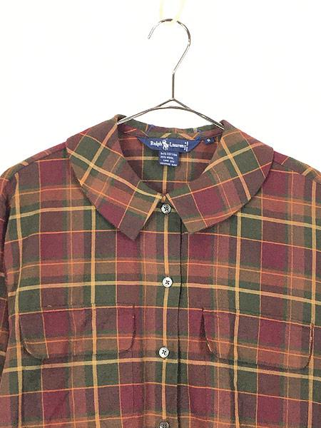 [2] レディース 古着 90s Ralph Lauren 丸襟 クラシック ウール コットン チェック シャツ S位 古着