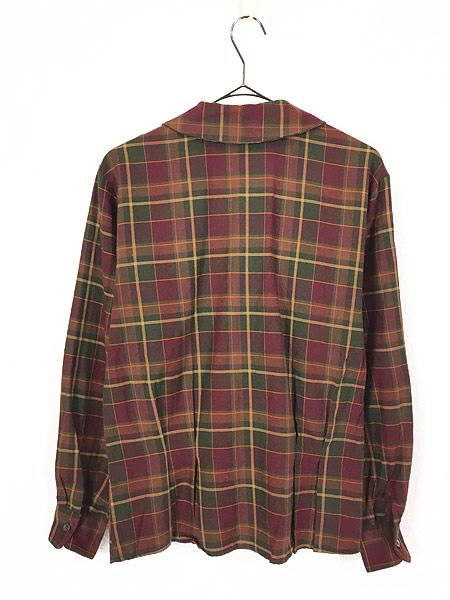 [4] レディース 古着 90s Ralph Lauren 丸襟 クラシック ウール コットン チェック シャツ S位 古着