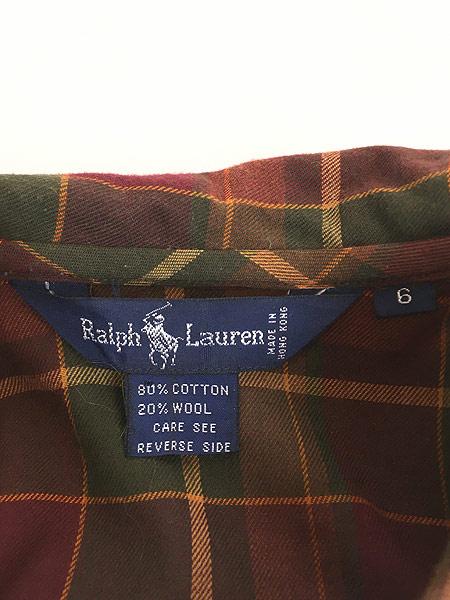 [6] レディース 古着 90s Ralph Lauren 丸襟 クラシック ウール コットン チェック シャツ S位 古着