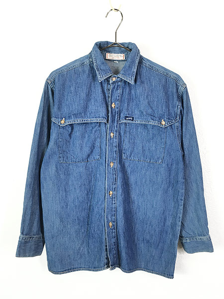 [1] レディース 古着 90s USA製 GUESS JEANS ブルー デニム デザイン シャツ M 古着