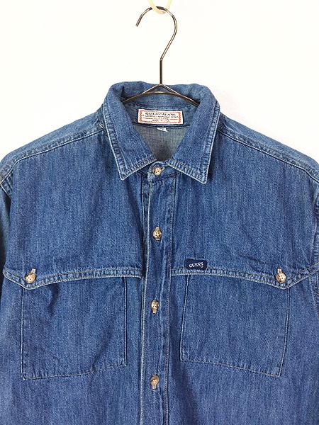 [2] レディース 古着 90s USA製 GUESS JEANS ブルー デニム デザイン シャツ M 古着