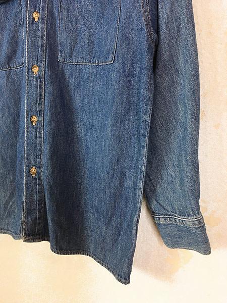 [3] レディース 古着 90s USA製 GUESS JEANS ブルー デニム デザイン シャツ M 古着