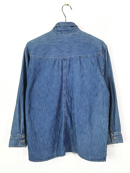 [4] レディース 古着 90s USA製 GUESS JEANS ブルー デニム デザイン シャツ M 古着