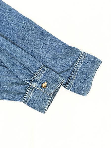 [5] レディース 古着 90s USA製 GUESS JEANS ブルー デニム デザイン シャツ M 古着
