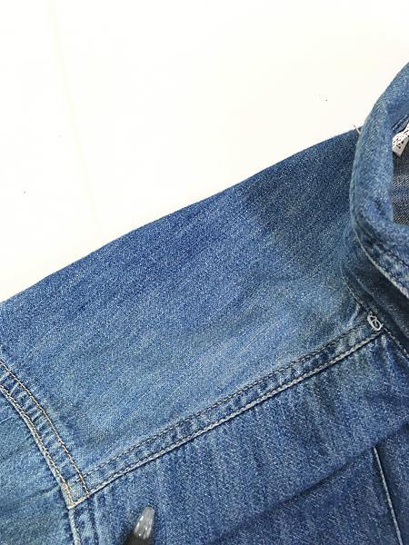 [6] レディース 古着 90s USA製 GUESS JEANS ブルー デニム デザイン シャツ M 古着