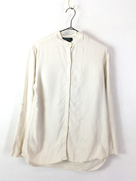 [1] レディース 古着 LAUREN Ralph Lauren 上質 100%シルク バンドカラー シャツ S 古着