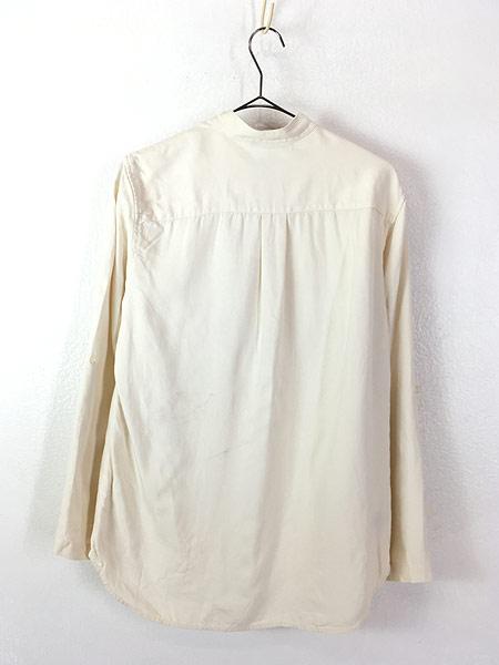 [3] レディース 古着 LAUREN Ralph Lauren 上質 100%シルク バンドカラー シャツ S 古着
