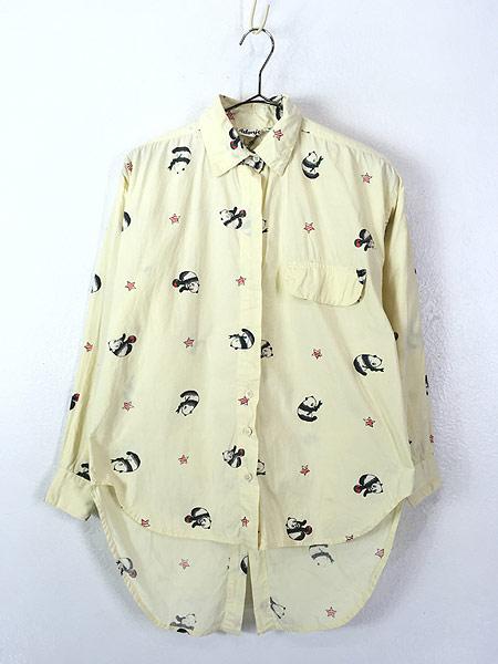 [1] レディース 古着 80s Adonis パンダ アニマル 変形 デザイン コットン シャツ S 古着