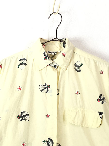[2] レディース 古着 80s Adonis パンダ アニマル 変形 デザイン コットン シャツ S 古着