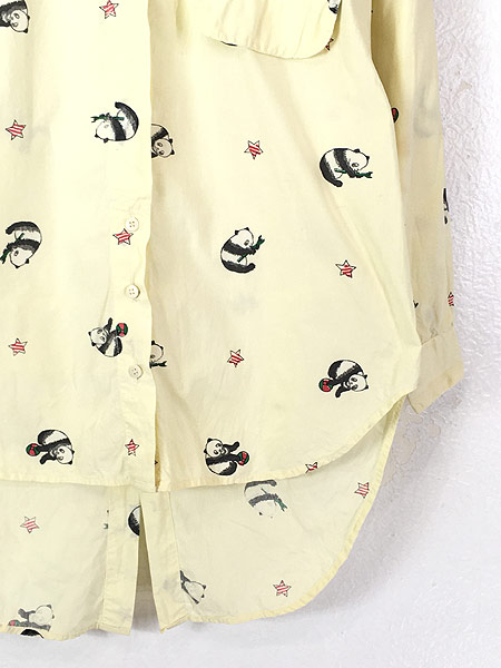 [3] レディース 古着 80s Adonis パンダ アニマル 変形 デザイン コットン シャツ S 古着