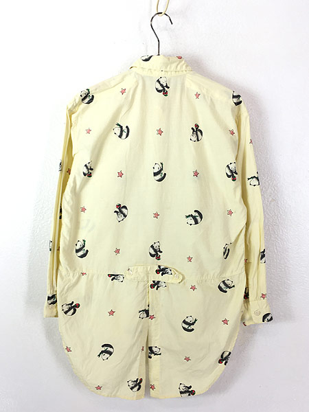 [4] レディース 古着 80s Adonis パンダ アニマル 変形 デザイン コットン シャツ S 古着