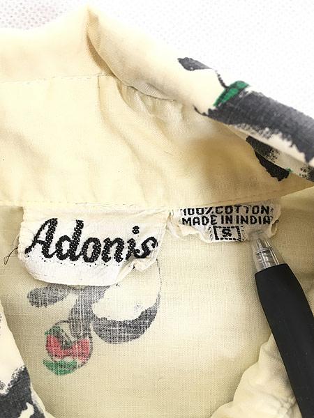 [7] レディース 古着 80s Adonis パンダ アニマル 変形 デザイン コットン シャツ S 古着