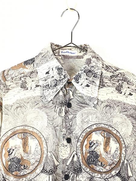 [2] レディース 古着 70s Bon Homme キノコ 女性 総柄 サイケ レトロ シャツ ポリシャツ M 古着