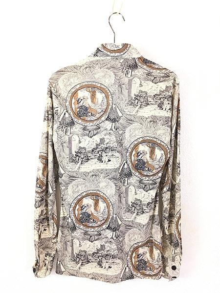 [3] レディース 古着 70s Bon Homme キノコ 女性 総柄 サイケ レトロ シャツ ポリシャツ M 古着