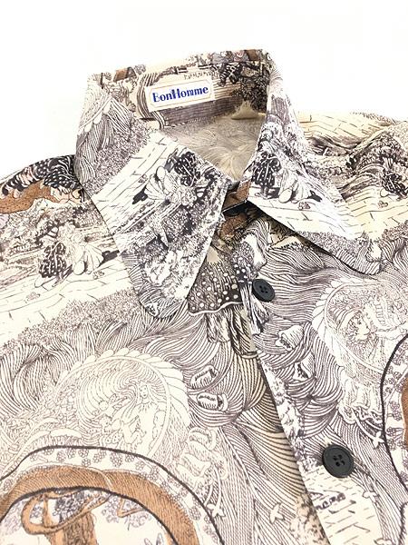 [5] レディース 古着 70s Bon Homme キノコ 女性 総柄 サイケ レトロ シャツ ポリシャツ M 古着