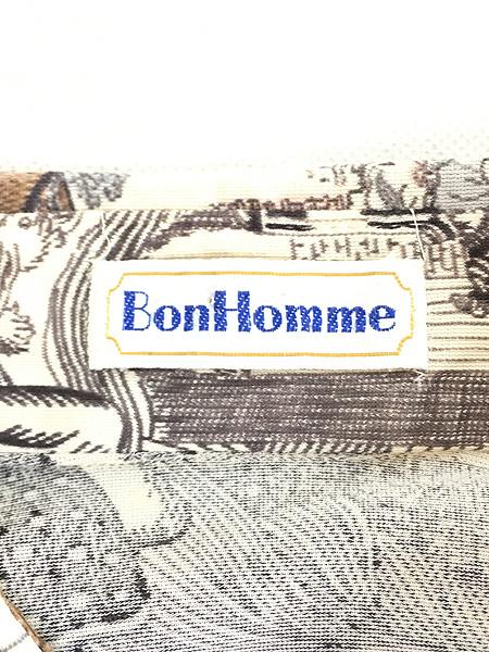 [6] レディース 古着 70s Bon Homme キノコ 女性 総柄 サイケ レトロ シャツ ポリシャツ M 古着