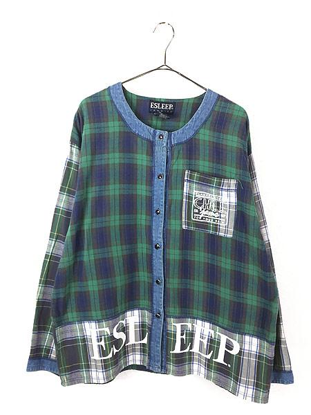 [1] レディース 古着 90s ESLEEP クレイジー チェック × デニム ノーカラー シャツ XL 古着