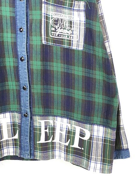 [3] レディース 古着 90s ESLEEP クレイジー チェック × デニム ノーカラー シャツ XL 古着