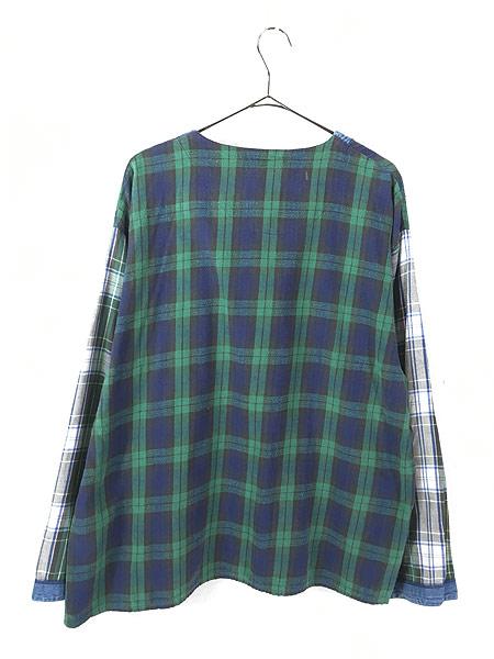 [4] レディース 古着 90s ESLEEP クレイジー チェック × デニム ノーカラー シャツ XL 古着