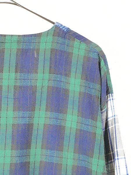 [5] レディース 古着 90s ESLEEP クレイジー チェック × デニム ノーカラー シャツ XL 古着