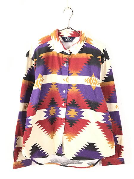 [1] レディース 古着 80s USA製 WoolRich ネイティブ チマヨ フランネル シャツ ネルシャツ XL 古着