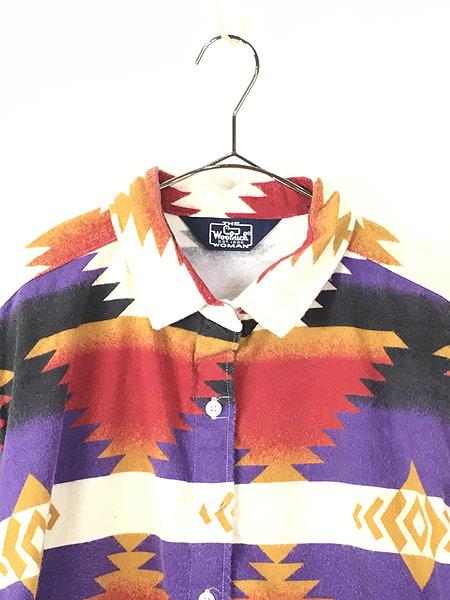 [2] レディース 古着 80s USA製 WoolRich ネイティブ チマヨ フランネル シャツ ネルシャツ XL 古着