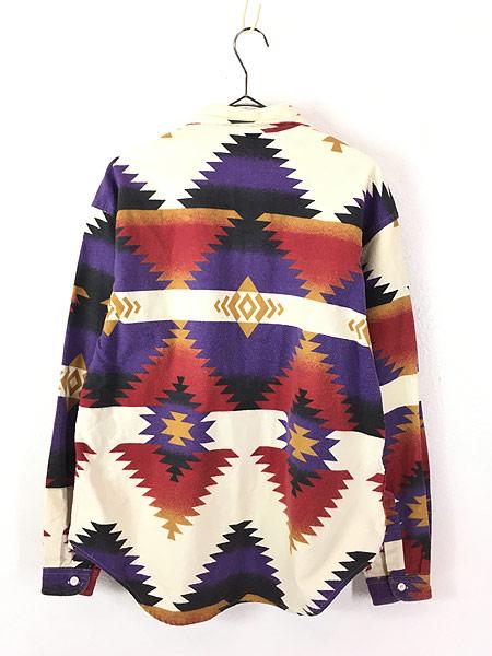 [3] レディース 古着 80s USA製 WoolRich ネイティブ チマヨ フランネル シャツ ネルシャツ XL 古着