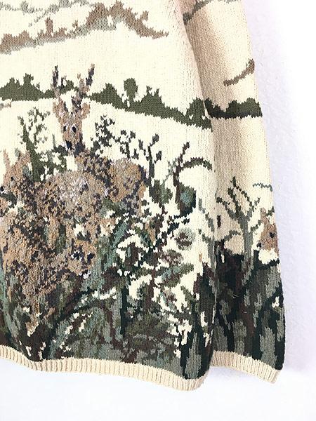 [3] レディース 古着 Lauren Ralph Lauren シカ 風景 ロールネック コットン ニット セーター L 古着