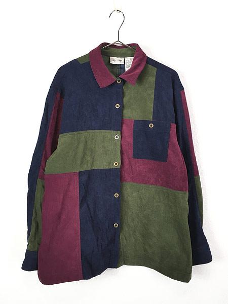 [1] レディース 古着 Monterey カラー ブロキング 異素材 フェイク スエード シャツ XL位 古着