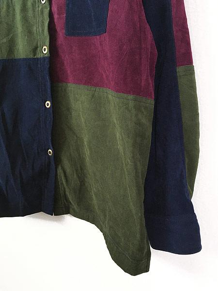 [3] レディース 古着 Monterey カラー ブロキング 異素材 フェイク スエード シャツ XL位 古着