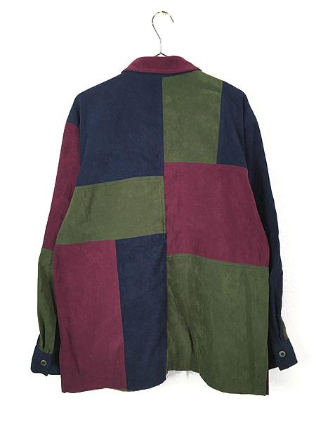 [4] レディース 古着 Monterey カラー ブロキング 異素材 フェイク スエード シャツ XL位 古着