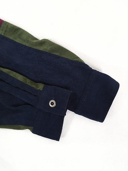 [5] レディース 古着 Monterey カラー ブロキング 異素材 フェイク スエード シャツ XL位 古着