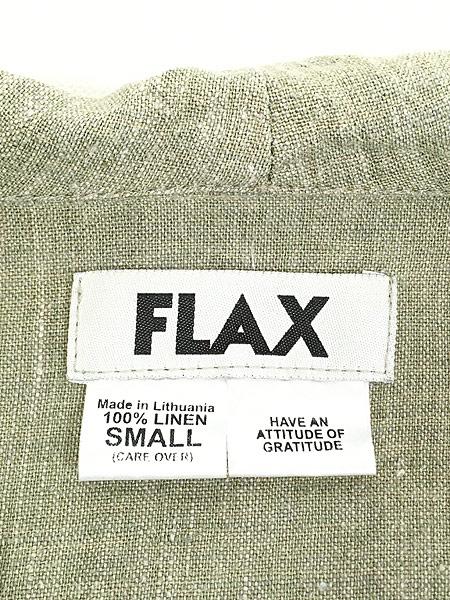 [5] レディース 古着 FLAX フラックス ナチュラル 麻 リネン 半袖 オープンカラー シャツ S 古着