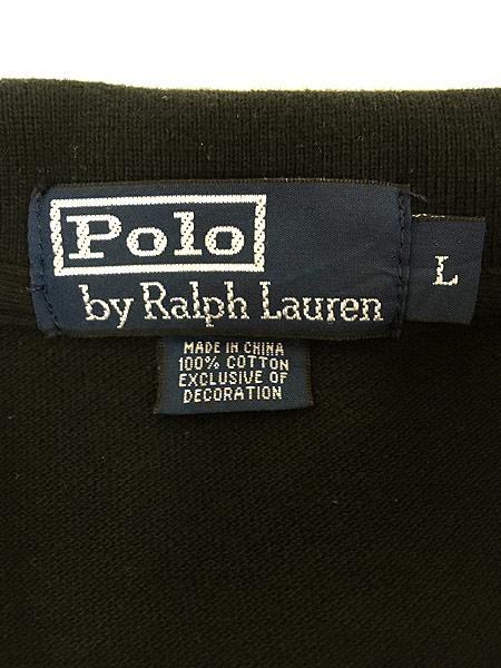 [6] レディース 古着 POLO Ralph Lauren ラルフ BIG ポニー 刺しゅう カノコ ポロ シャツ 黒 L 古着
